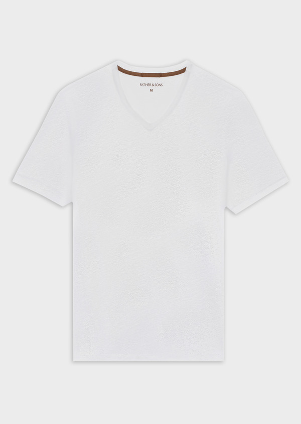 Tee-shirt manches courtes en lin col V uni blanc - Father and Sons 40209