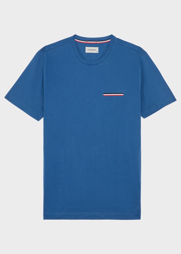Tee-shirt manches courtes en coton uni col rond bleu - Father and Sons 38867