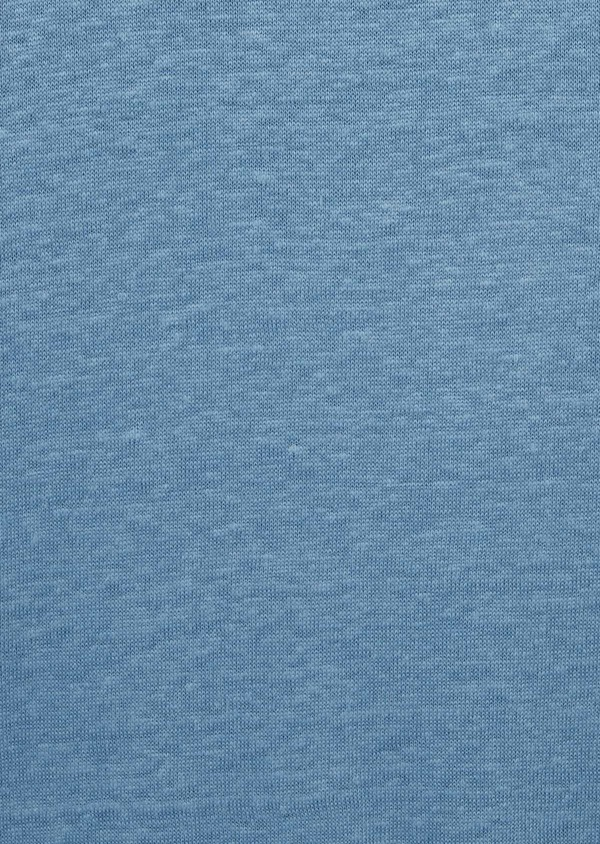 Tee-shirt manches courtes en lin uni col rond bleu chambray - Father and Sons 39503