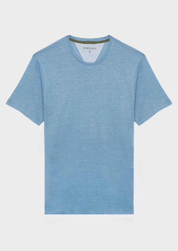 Tee-shirt manches courtes en lin uni col rond bleu chambray - Father and Sons 39502