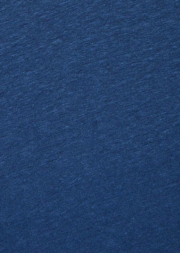 Tee-shirt manches courtes en lin col V uni bleu - Father and Sons 39423