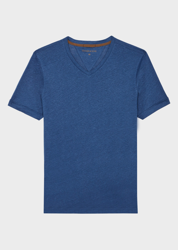 Tee-shirt manches courtes en lin col V uni bleu - Father and Sons 39422