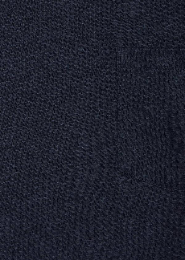 Tee-shirt manches courtes en lin col V uni bleu indigo - Father and Sons 40147