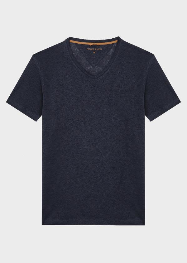Tee-shirt manches courtes en lin col V uni bleu indigo - Father and Sons 40146