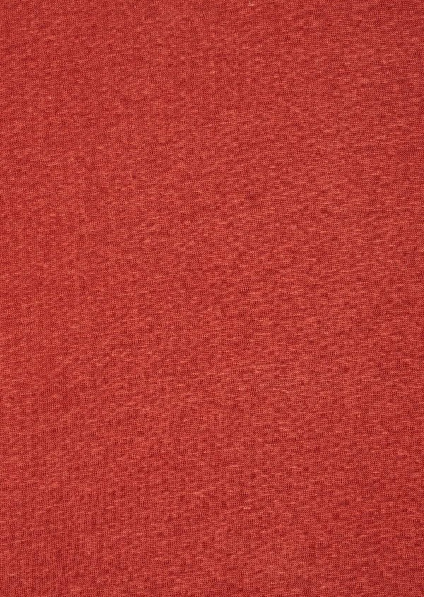 Tee-shirt manches courtes en lin col V uni rouge foncé - Father and Sons 41885