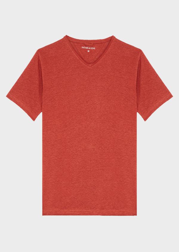 Tee-shirt manches courtes en lin col V uni rouge foncé - Father and Sons 41884