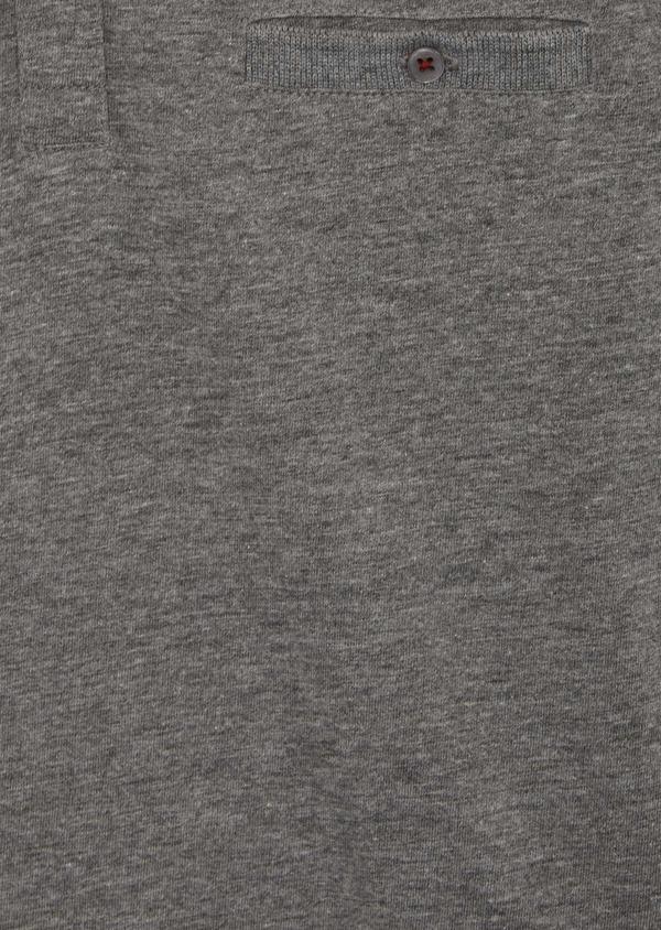 Tee-shirt manches courtes en coton col tunisien uni gris - Father and Sons 39414
