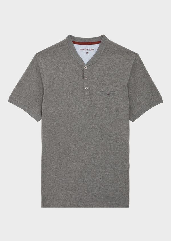 Tee-shirt manches courtes en coton col tunisien uni gris - Father and Sons 39413