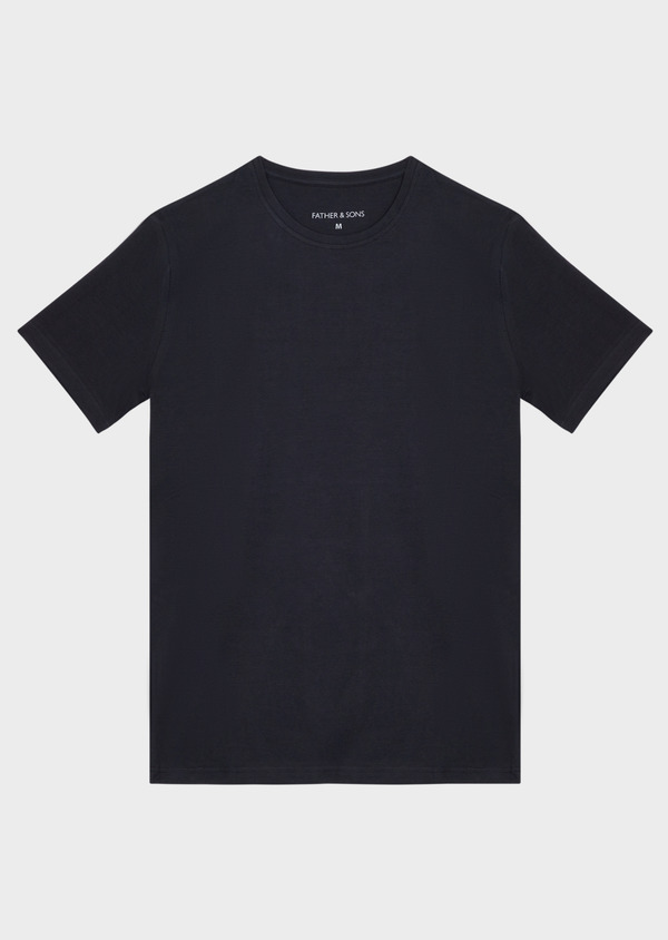 Tee-shirt manches courtes en coton stretch col rond uni bleu marine - Father and Sons 37264
