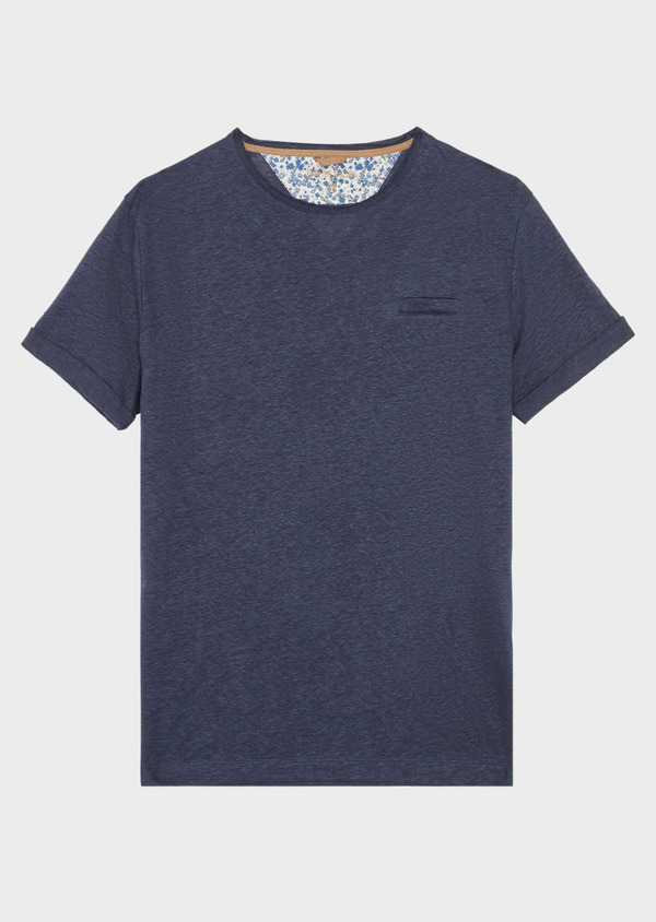 Tee-shirt manches courtes en lin uni col rond bleu marine - Father and Sons 38869