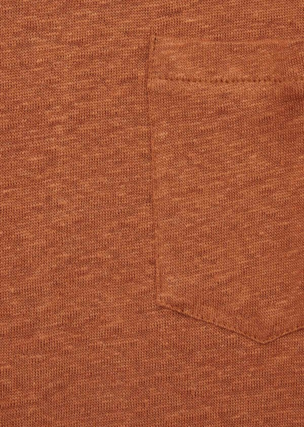 Tee-shirt manches courtes en lin col V uni caramel - Father and Sons 39507