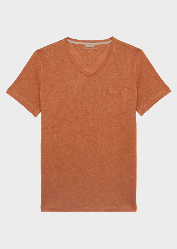 Tee-shirt manches courtes en lin col V uni caramel - Father and Sons 39506