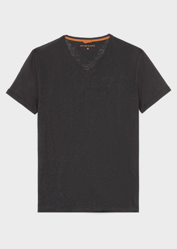 Tee-shirt manches courtes en lin col V uni noir - Father and Sons 38871