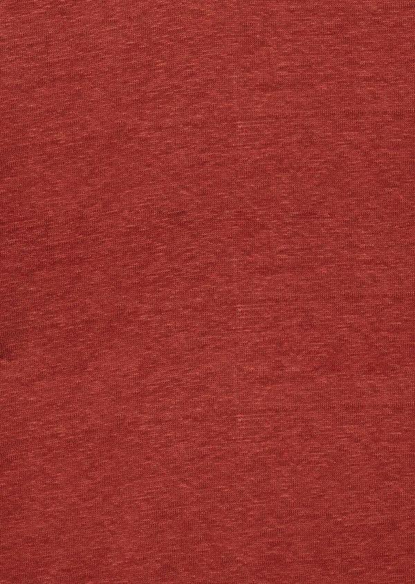 Tee-shirt manches courtes en lin col V uni orange foncé - Father and Sons 39505