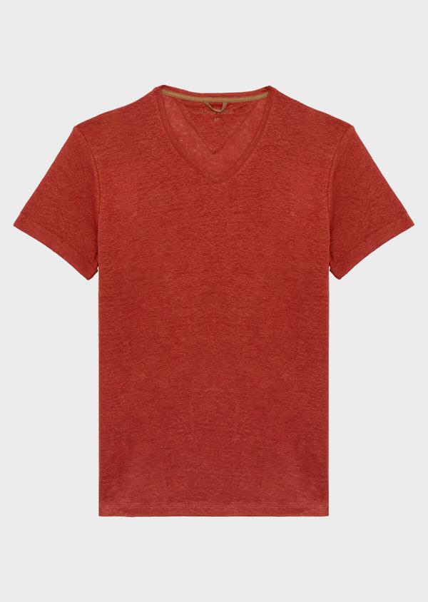 Tee-shirt manches courtes en lin col V uni orange foncé - Father and Sons 39504