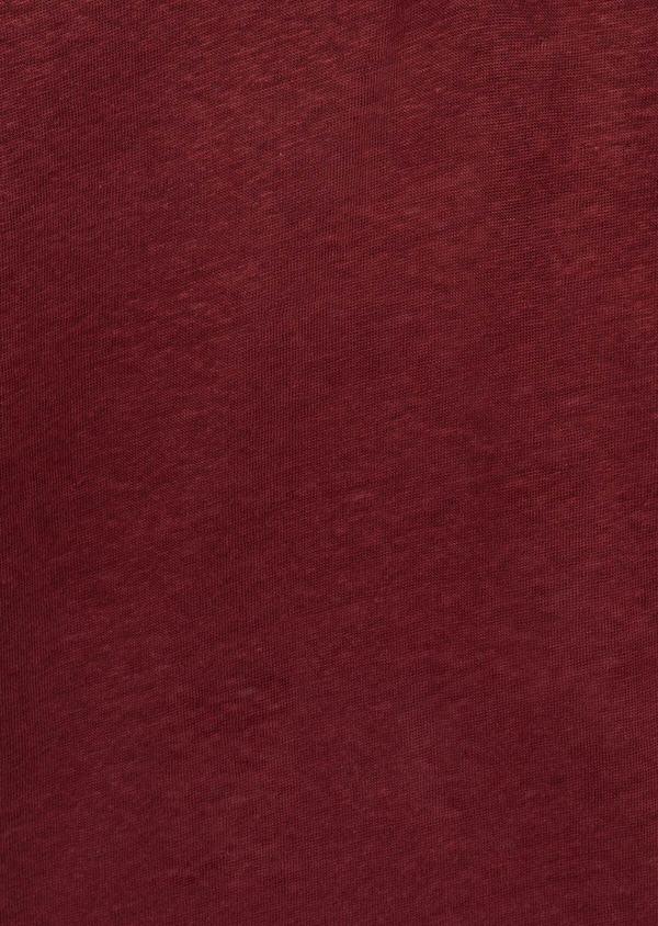 Tee-shirt manches courtes en lin col tunisien uni bordeaux - Father and Sons 39509