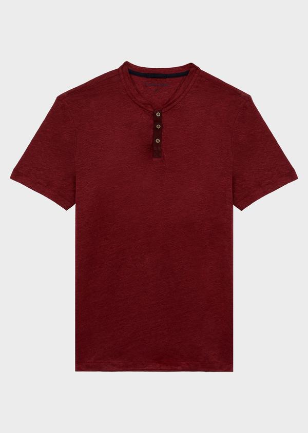 Tee-shirt manches courtes en lin col tunisien uni bordeaux - Father and Sons 39508