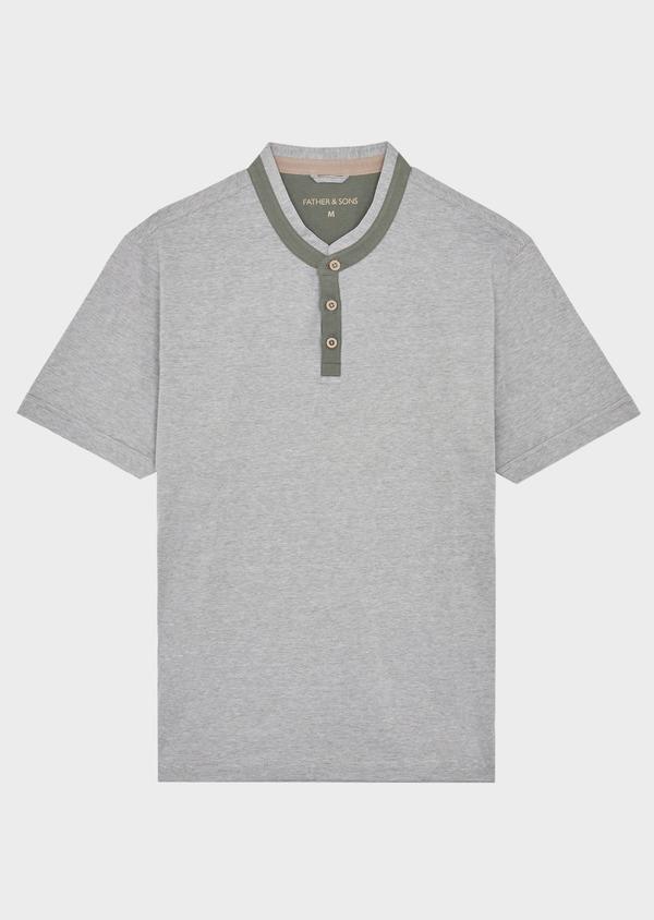 Tee-shirt manches courtes en coton col tunisien uni vert kaki - Father and Sons 39410