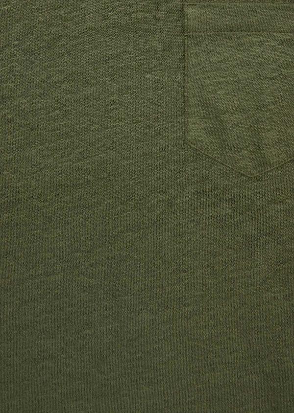 Tee-shirt manches courtes en lin col tunisien uni vert kaki - Father and Sons 39511