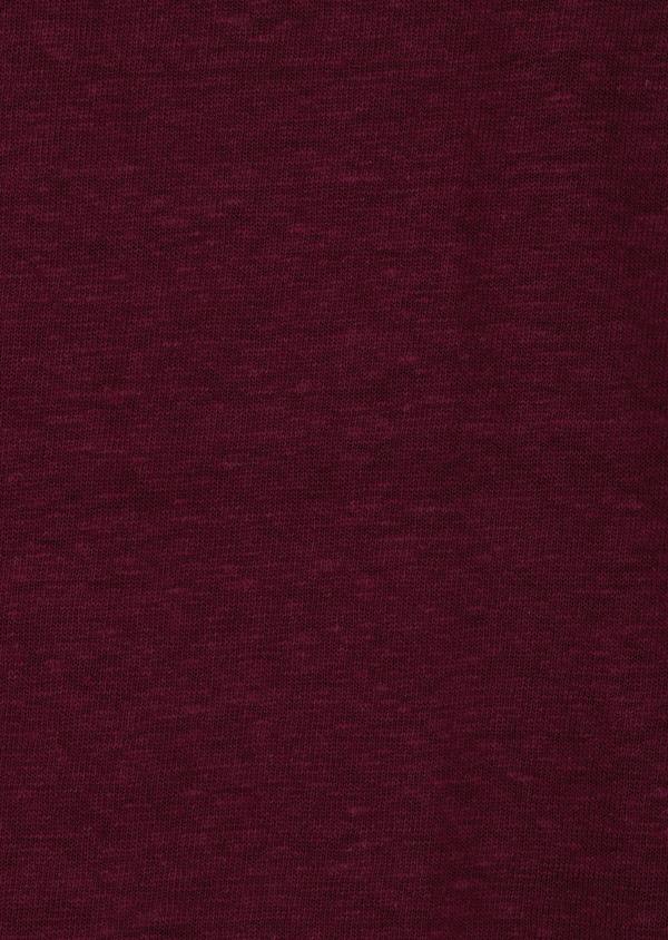 Tee-shirt manches courtes en lin col V uni rouge foncé - Father and Sons 34597