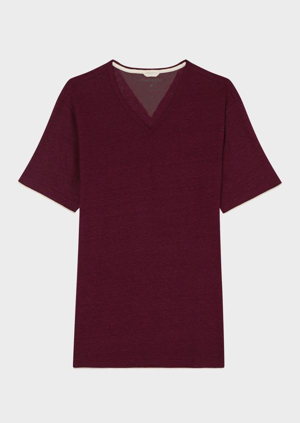 Tee-shirt manches courtes en lin col V uni rouge foncé - Father and Sons 34596