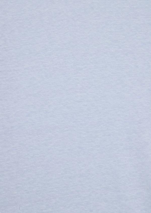 Tee-shirt manches courtes en lin col V uni bleu ciel - Father and Sons 34585