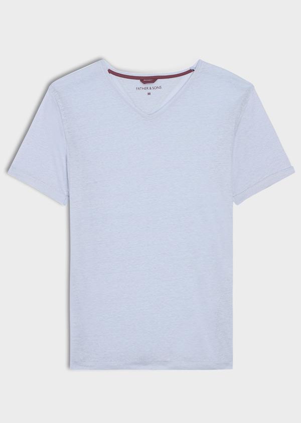 Tee-shirt manches courtes en lin col V uni bleu ciel - Father and Sons 34584