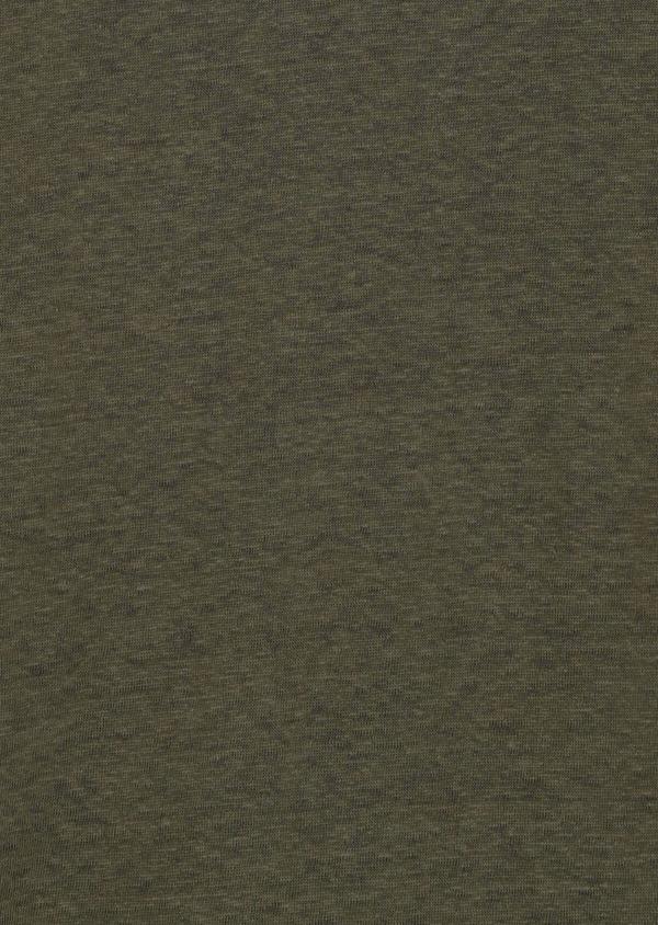 Tee-shirt manches courtes en lin col V uni vert kaki clair - Father and Sons 34599