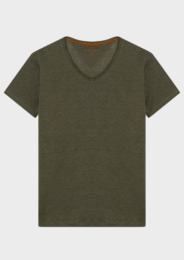 Tee-shirt manches courtes en lin col V uni vert kaki clair - Father and Sons 34598