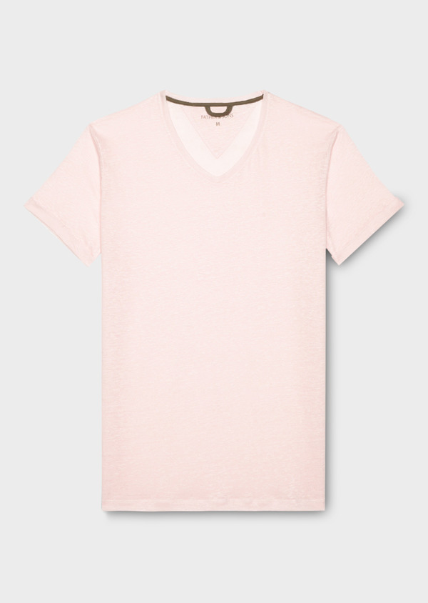 Tee-shirt manches courtes en lin col V uni rose pâle - Father and Sons 34594