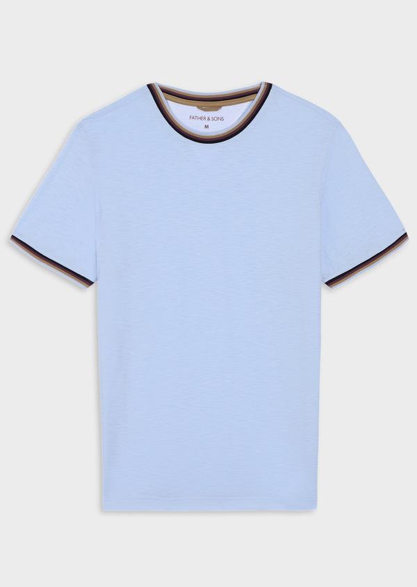 Tee-shirt manches courtes en coton col rond uni bleu ciel - Father and Sons 34578