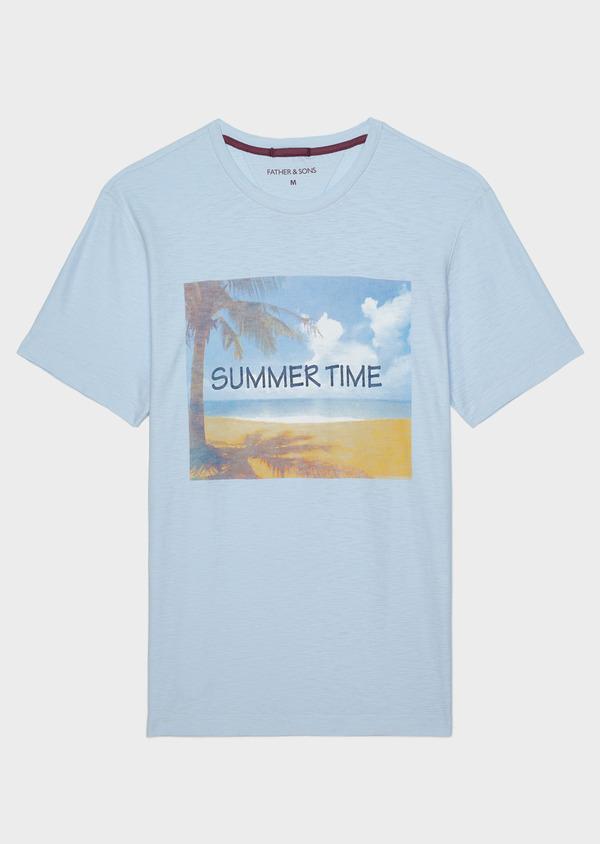 Tee-shirt manches courtes en coton col rond bleu ciel à motif fantaisie - Father and Sons 33555