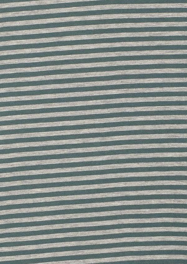 Tee-shirt manches courtes en coton col rond vert foncé à rayures - Father and Sons 33554