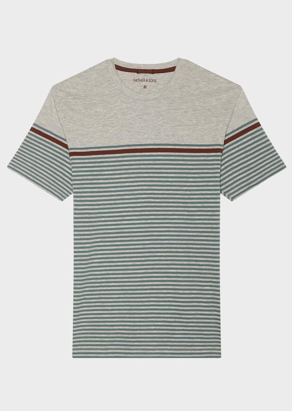Tee-shirt manches courtes en coton col rond vert foncé à rayures - Father and Sons 33553