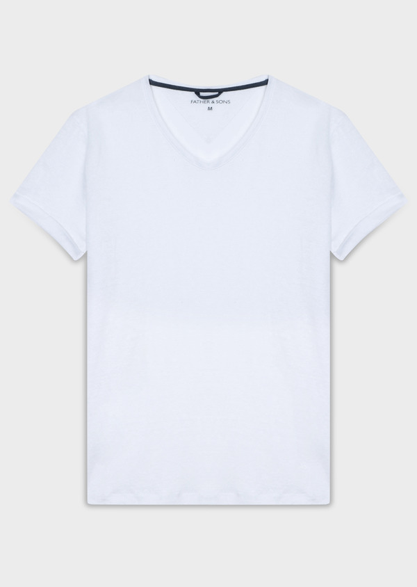 Tee-shirt manches courtes en lin col V uni blanc - Father and Sons 33730