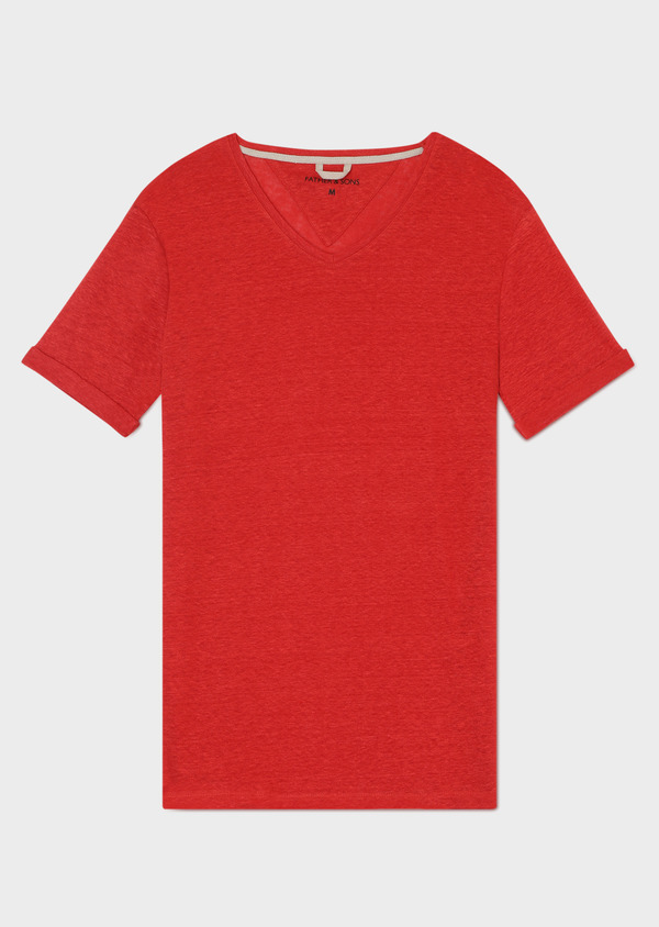 Tee-shirt manches courtes en lin col V uni rouge - Father and Sons 33575