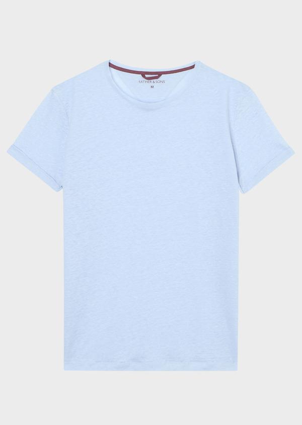 Tee-shirt manches courtes en lin col rond uni bleu ciel - Father and Sons 33565
