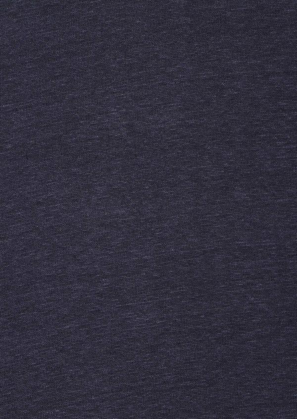 Tee-shirt manches courtes en lin col V uni bleu marine - Father and Sons 33574