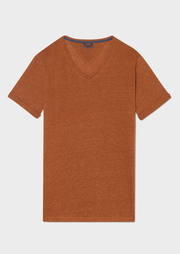 Tee-shirt manches courtes en lin col V uni marron clair - Father and Sons 33571