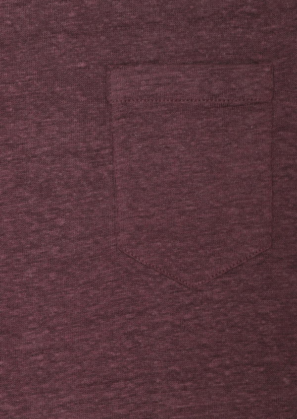Tee-shirt manches courtes en lin col rond uni violet - Father and Sons 33725