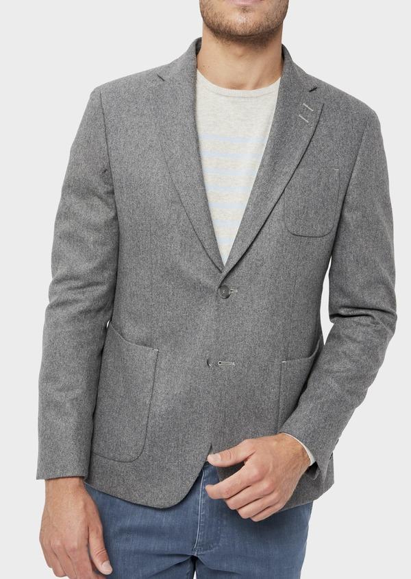 Veste casual Regular en flanelle grise avec parementure vert kaki amovible - Father and Sons 36234