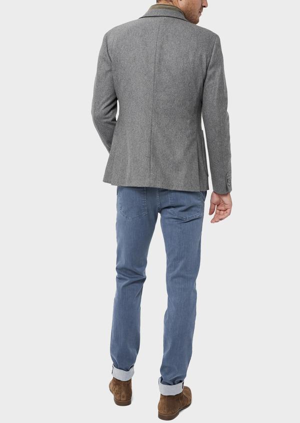 Veste casual Regular en flanelle grise avec parementure vert kaki amovible - Father and Sons 36230