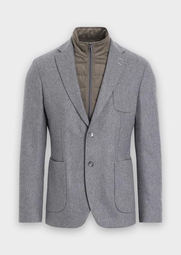 Veste casual Regular en flanelle grise avec parementure vert kaki amovible - Father and Sons 36227