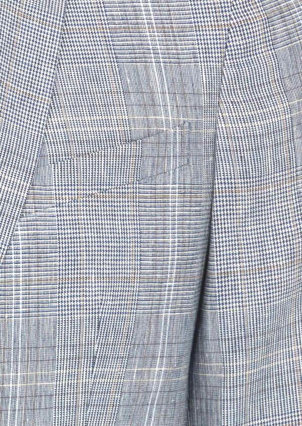 Veste coordonnable Regular en lin et coton bleu indigo Prince de Galles - Father and Sons 38874