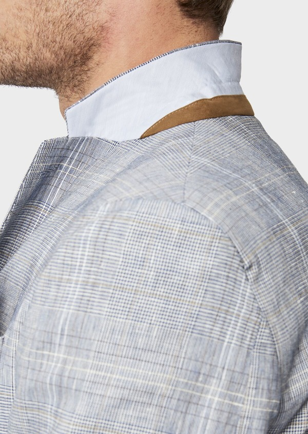 Veste coordonnable Regular en lin et coton bleu indigo Prince de Galles - Father and Sons 38877