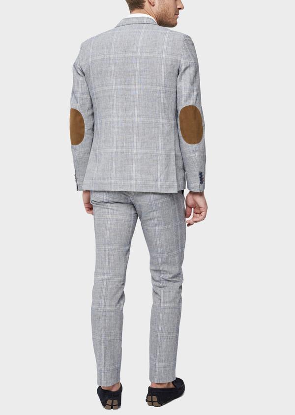 Veste coordonnable Regular en lin et coton bleu indigo Prince de Galles - Father and Sons 38876