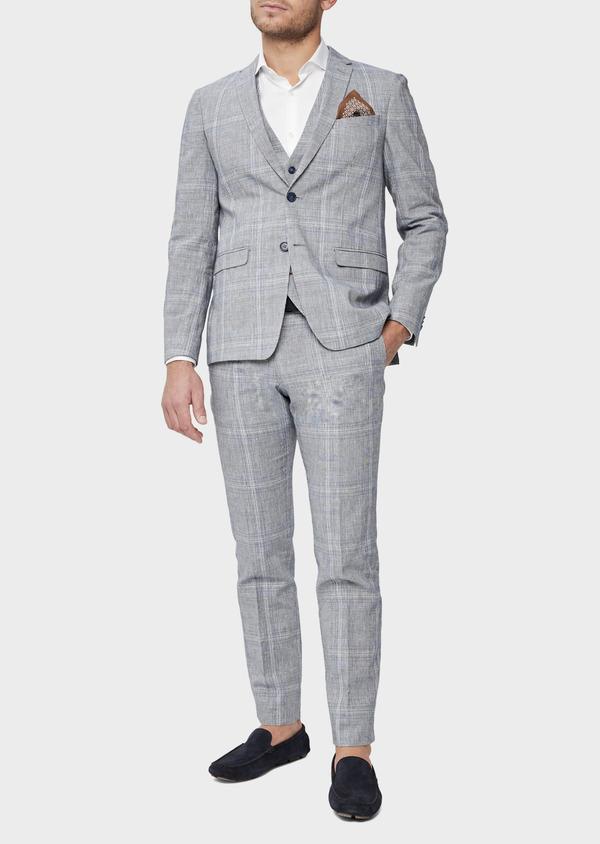 Veste coordonnable Regular en lin et coton bleu indigo Prince de Galles - Father and Sons 38875