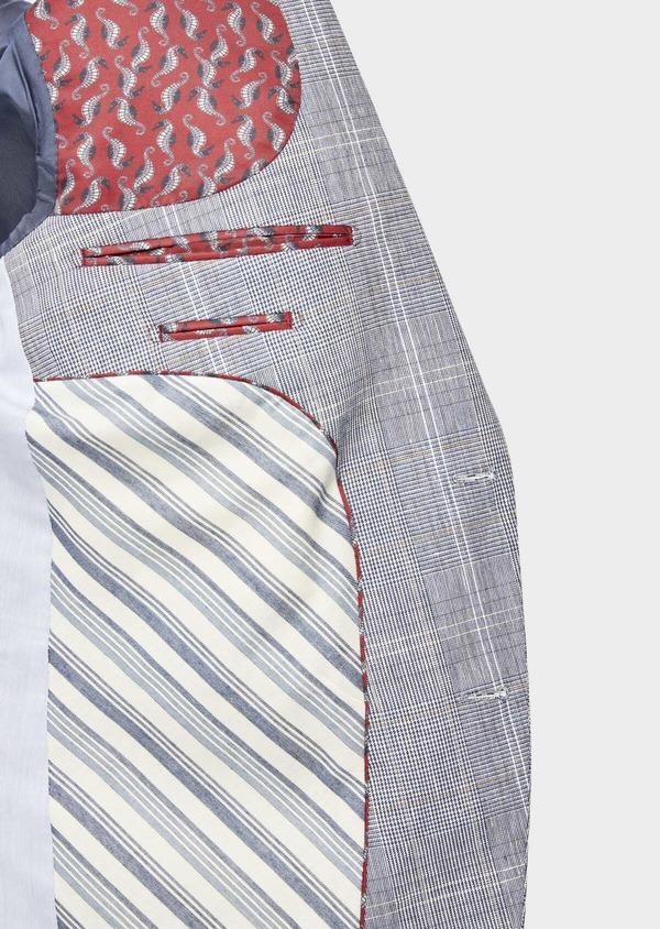 Veste coordonnable Regular en lin et coton bleu indigo Prince de Galles - Father and Sons 38879