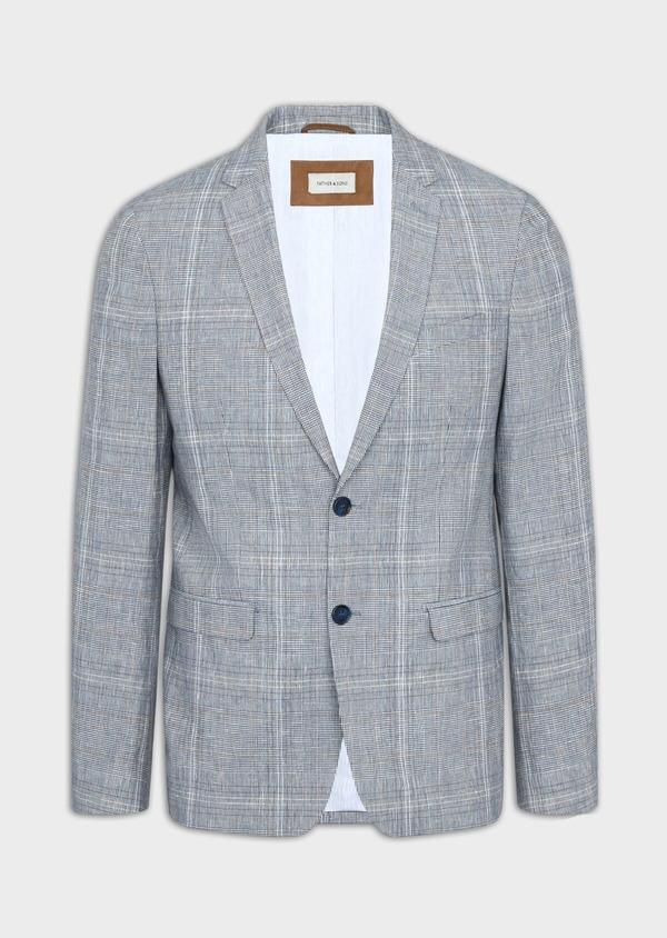 Veste coordonnable Regular en lin et coton bleu indigo Prince de Galles - Father and Sons 38873