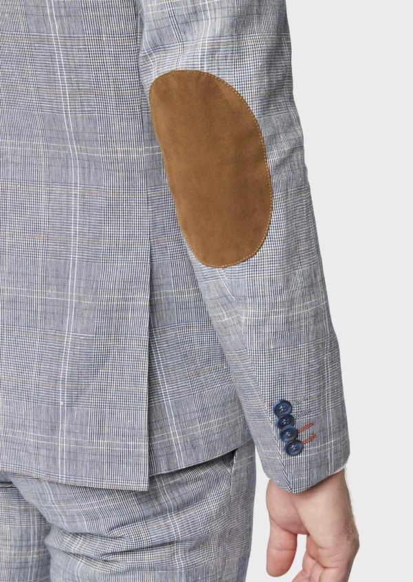 Veste coordonnable Regular en lin et coton bleu indigo Prince de Galles - Father and Sons 38878